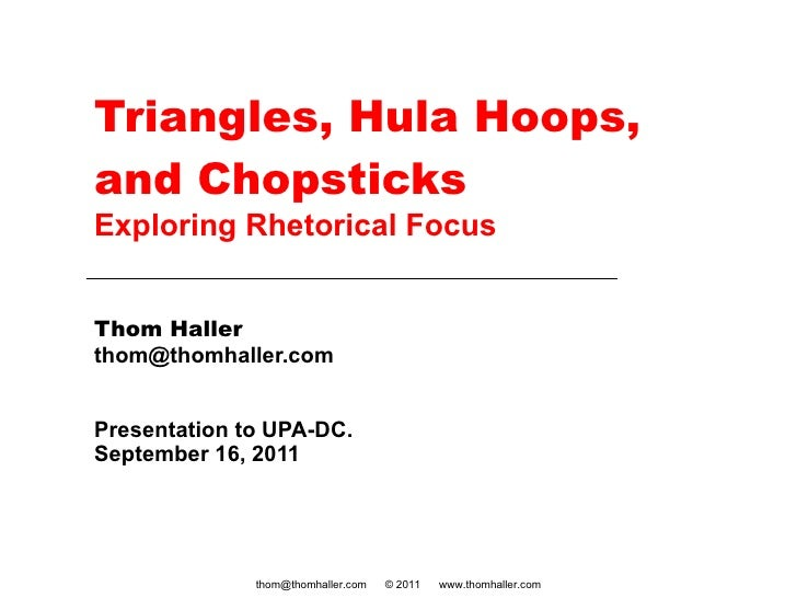 Triangles, Hula Hoops, and Chopsticks Exploring Rhetorical Focus Thom Haller [email_address] Presentation to UPA-DC.  Sept...