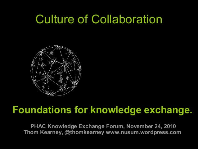 Culture of Collaboration  Foundations for knowledge exchange. PHAC Knowledge Exchange Forum, November 24, 2010 Thom Kearne...