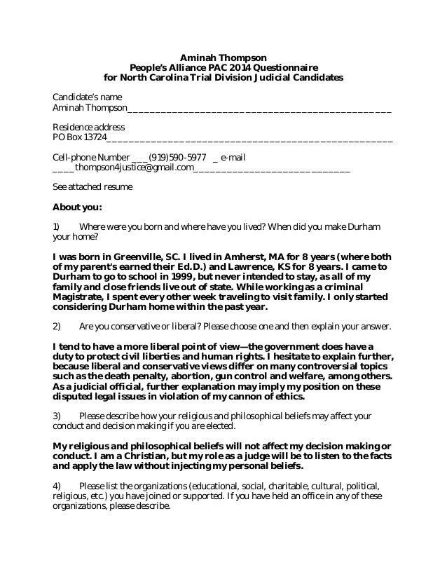 Aminah Thompson People's Alliance PAC 2014 Questionnaire for North Carolina Trial Division Judicial Candidates Candidate's...