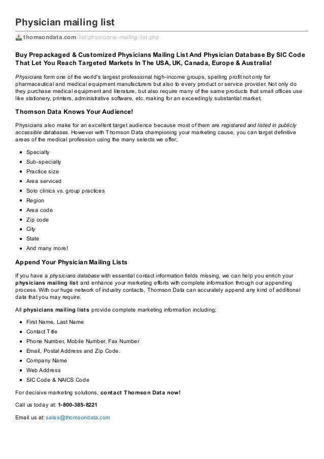 Physician mailing list thomsondata.com /list/physicians-mailing-list.php  Buy Prepackaged & Customiz ed Physicians Mailing...