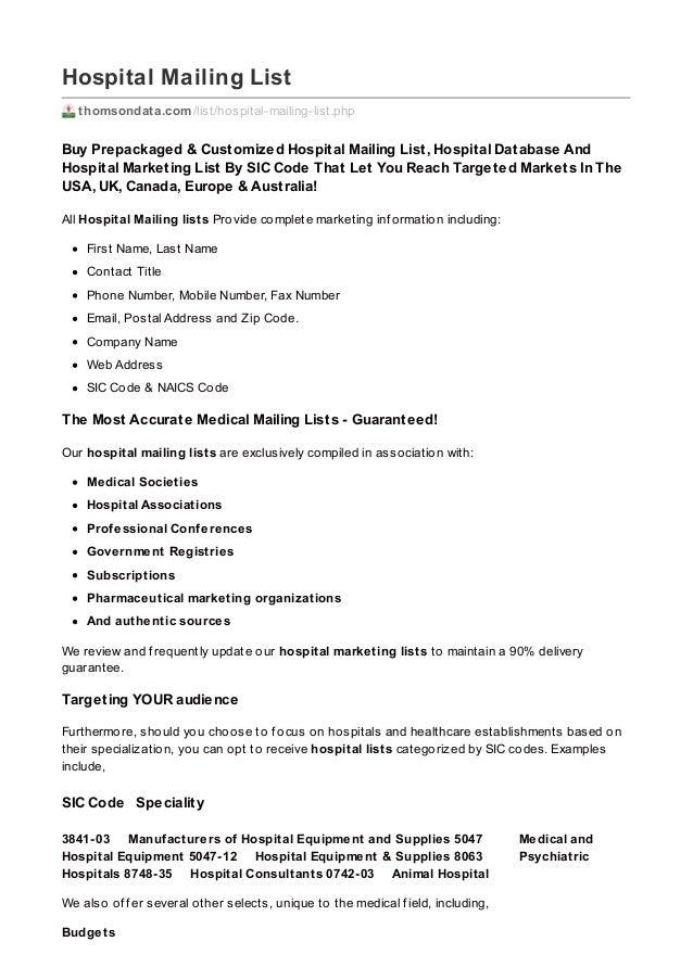 Hospital Mailing List thomsondata.com/list/hospital-mailing-list.php Buy Prepackaged & Customized Hospital Mailing List, H...