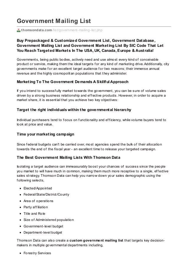 Government Mailing List thomsondata.com/list/government-mailing-list.php Buy Prepackaged & Customized Government List, Gov...