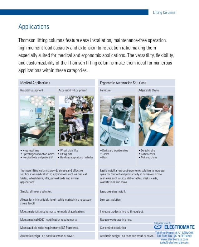 Thomson Lifting Columns Catalog