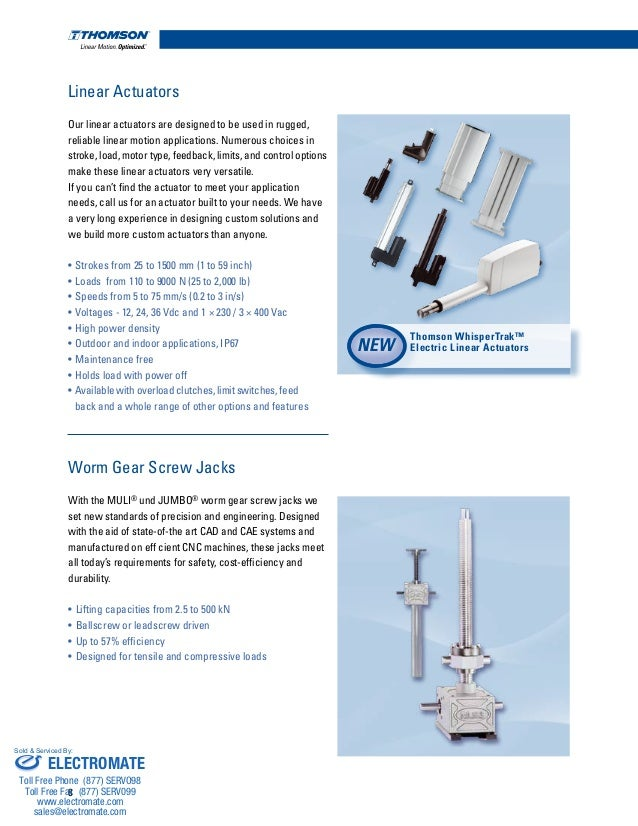 Thomson Linear Mechanical Motion Solutions