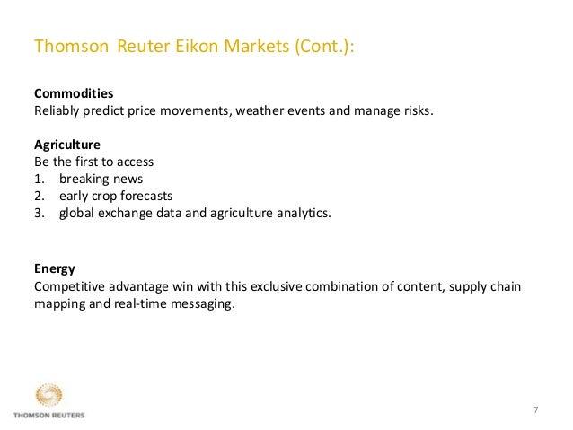 Thomson Reuter Eikon (Market Analytics & Trading Software)