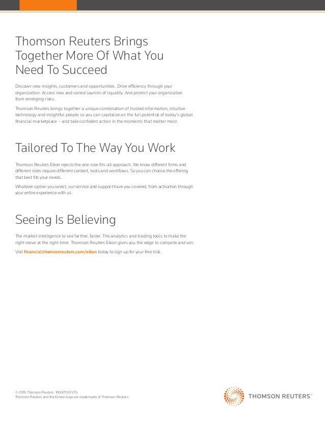 Thomson Reuters Eikon Factsheet - Financial Analysis Desktop
