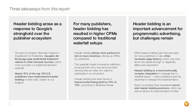 Three takeaways from this report Header bidding arose as a response to Google's stronghold over the publisher ecosystem - ...