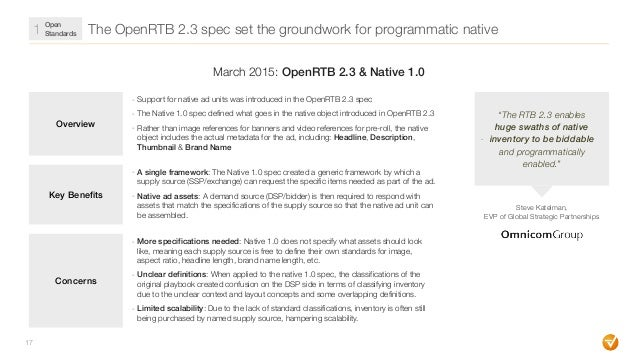 The OpenRTB 2.3 spec set the groundwork for programmatic native 17 Overview - Support for native ad units was introduced i...