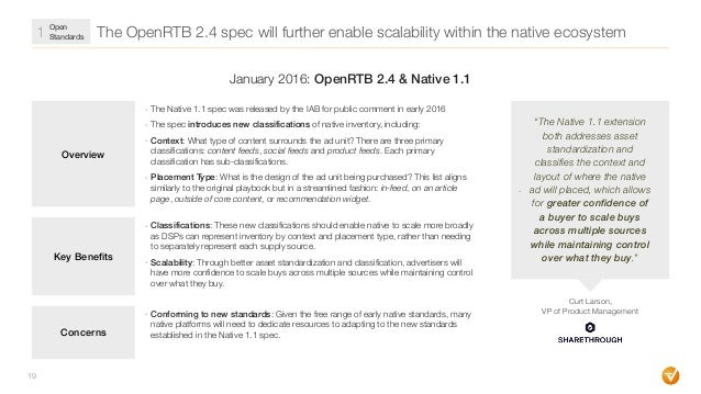 The OpenRTB 2.4 spec will further enable scalability within the native ecosystem 19 Overview - The Native 1.1 spec was rel...