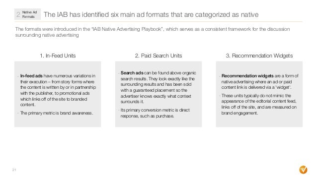 """The IAB has identified six main ad formats that are categorized as native 21 The formats were introduced in the """"IAB Nativ..."""