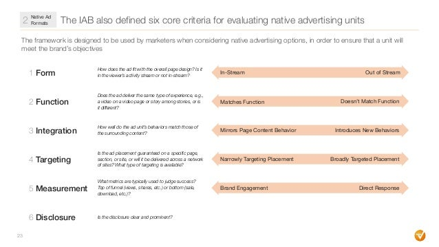 The IAB also defined six core criteria for evaluating native advertising units 23 The framework is designed to be used by ...