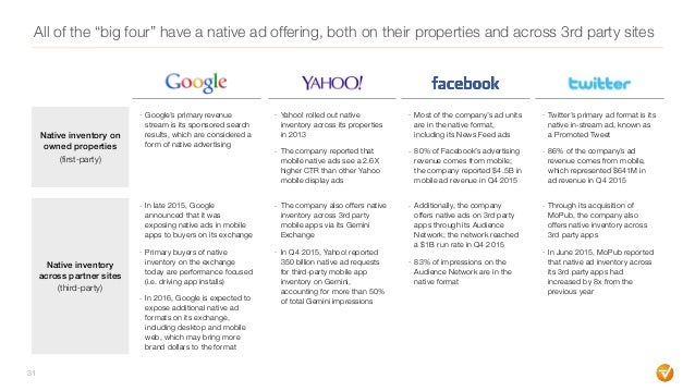 """All of the """"big four"""" have a native ad offering, both on their properties and across 3rd party sites 31 Native inventory o..."""