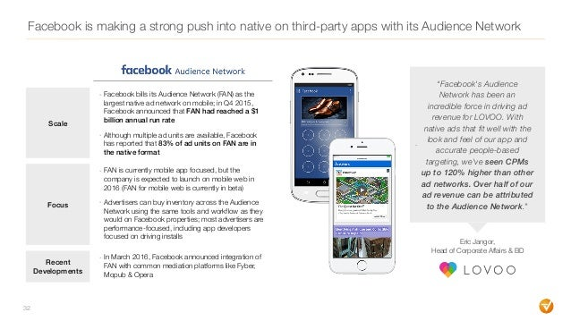 """32 Facebook is making a strong push into native on third-party apps with its Audience Network - """"Facebook's Audience Netwo..."""