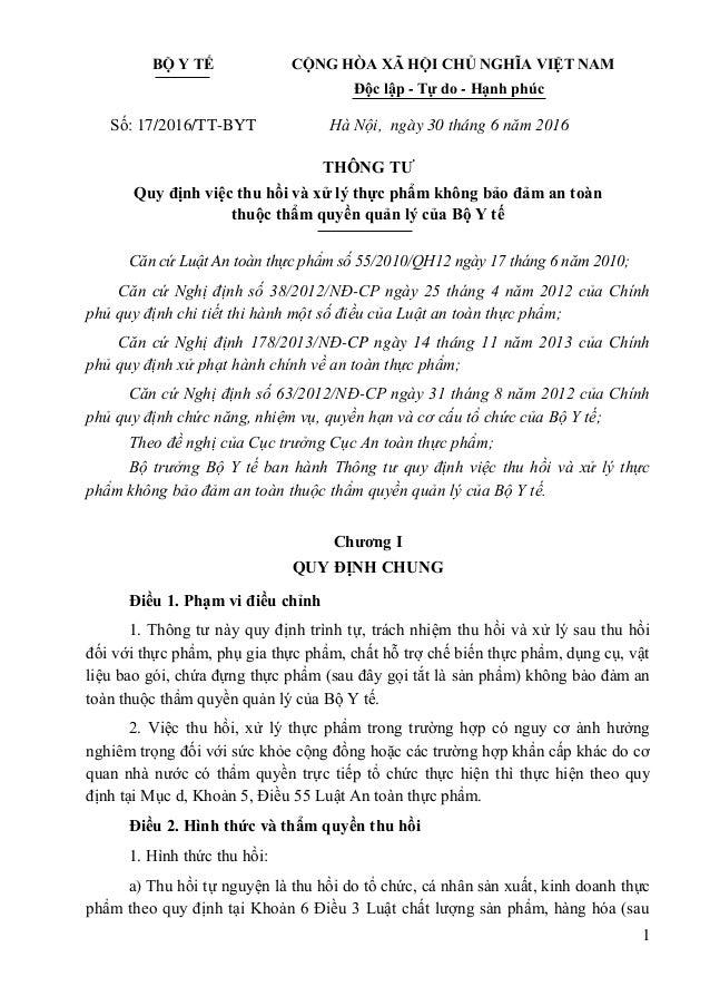 1 BỘ Y TẾ CỘNG HÒA XÃ HỘI CHỦ NGHĨA VIỆT NAM Độc lập - Tự do - Hạnh phúc Số: 17/2016/TT-BYT Hà Nội, ngày 30 tháng 6 năm 20...