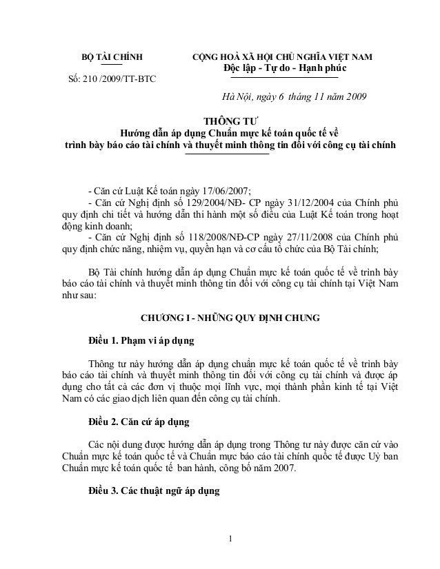 BỘ TÀI CHÍNH  Số: 210 /2009/TT-BTC  CỘNG HOÀ XÃ HỘI CHỦ NGHĨA VIỆT NAM  Độc lập - Tự do - Hạnh phúc  Hà Nội, ngày 6 tháng ...