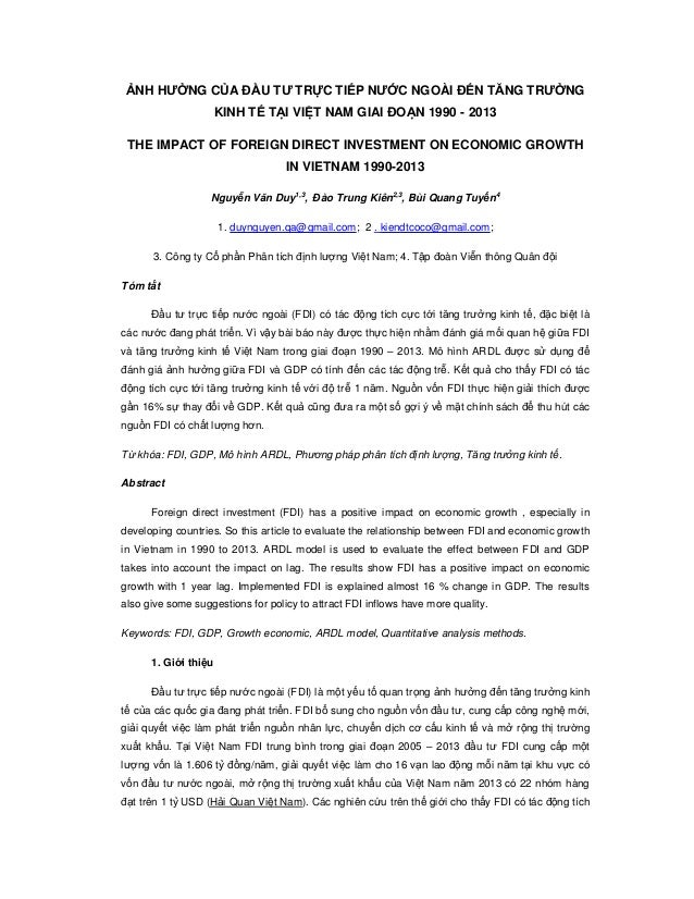 ẢNH HƯỞNG CỦA ĐẦU TƯ TRỰC TIẾP NƯỚC NGOÀI ĐẾN TĂNG TRƯỞNG KINH TẾ TẠI VIỆT NAM GIAI ĐOẠN 1990 - 2013 THE IMPACT OF FOREIGN...