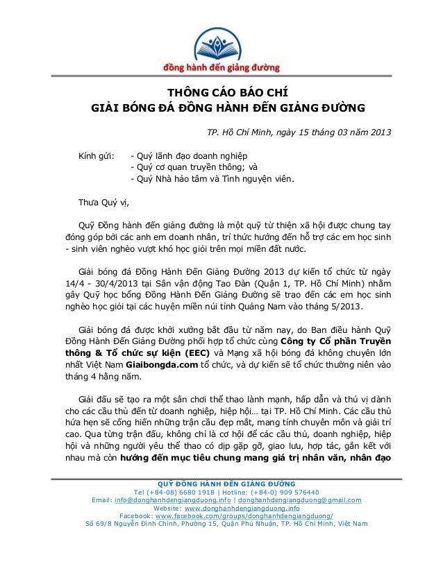 THÔNG CÁO BÁO CHÍ      GIẢI BÓNG ĐÁ ĐỒNG HÀNH ĐẾN GIẢNG ĐƯỜNG                                      TP. Hồ Chí Minh, ngày 1...