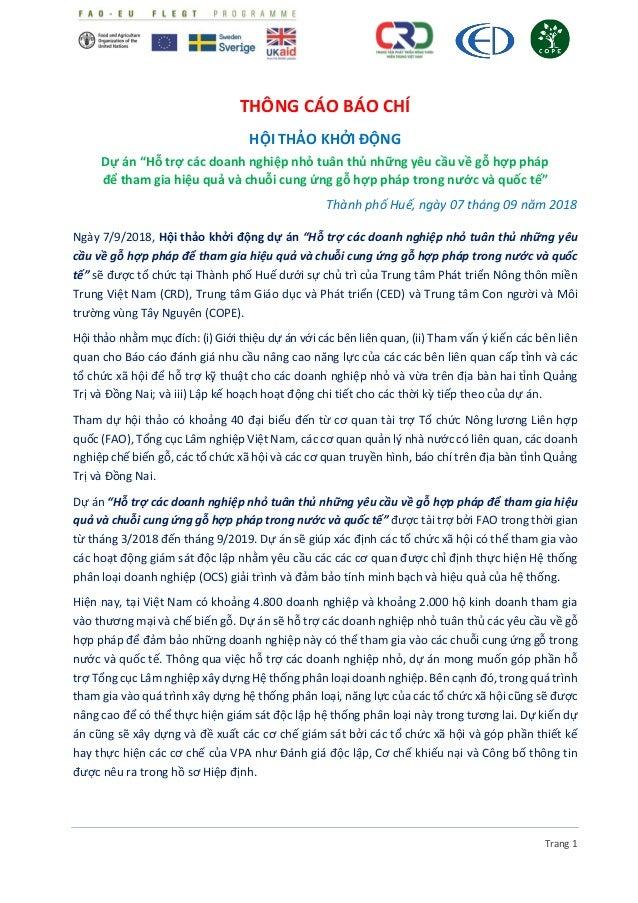 """Trang 1 THÔNG CÁO BÁO CHÍ HỘI THẢO KHỞI ĐỘNG Dự án """"Hỗ trợ các doanh nghiệp nhỏ tuân thủ những yêu cầu về gỗ hợp pháp để t..."""