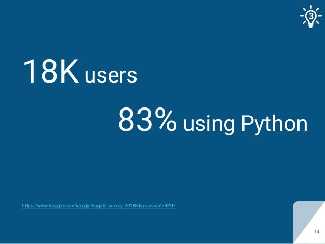 18K users 14 83% using Python https://www.kaggle.com/kaggle/kaggle-survey-2018/discussion/74297 3