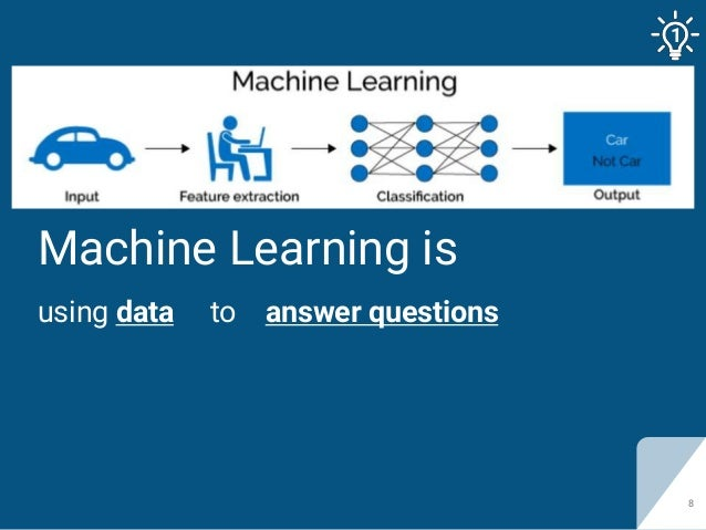 Machine Learning is using data to answer questions 8 1