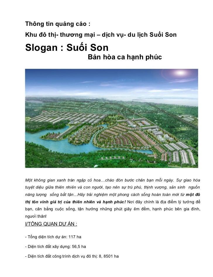 Thông tin quảng cáo :Khu đô thị- thương mại – dịch vụ- du lịch Suối SonSlogan : Suối Son                                  ...