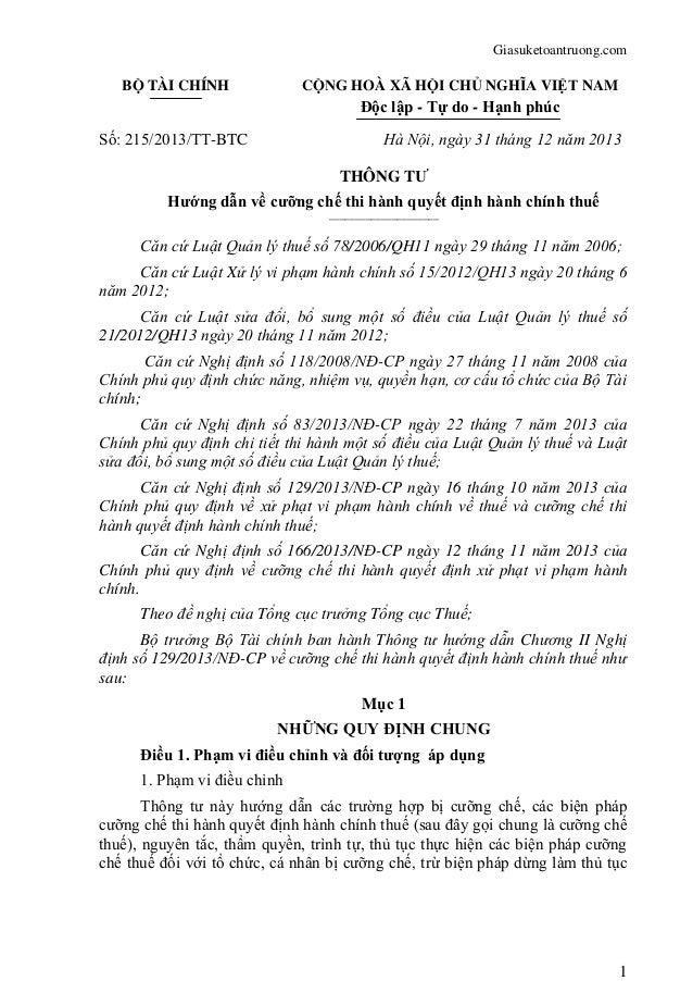 Giasuketoantruong.com  BỘ TÀI CHÍNH  CỘNG HOÀ XÃ HỘI CHỦ NGHĨA VIỆT NAM  Độc lập - Tự do - Hạnh phúc Số: 215/2013/TT-BTC  ...