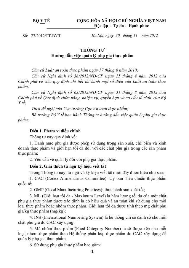 BỘ Y TẾ Số: 27/2012/TT-BYT CỘNG HÒA XÃ HỘI CHỦ NGHĨA VIỆT NAM Độc lập - Tự do - Hạnh phúc Hà Nội, ngày 30 tháng 11 năm 201...