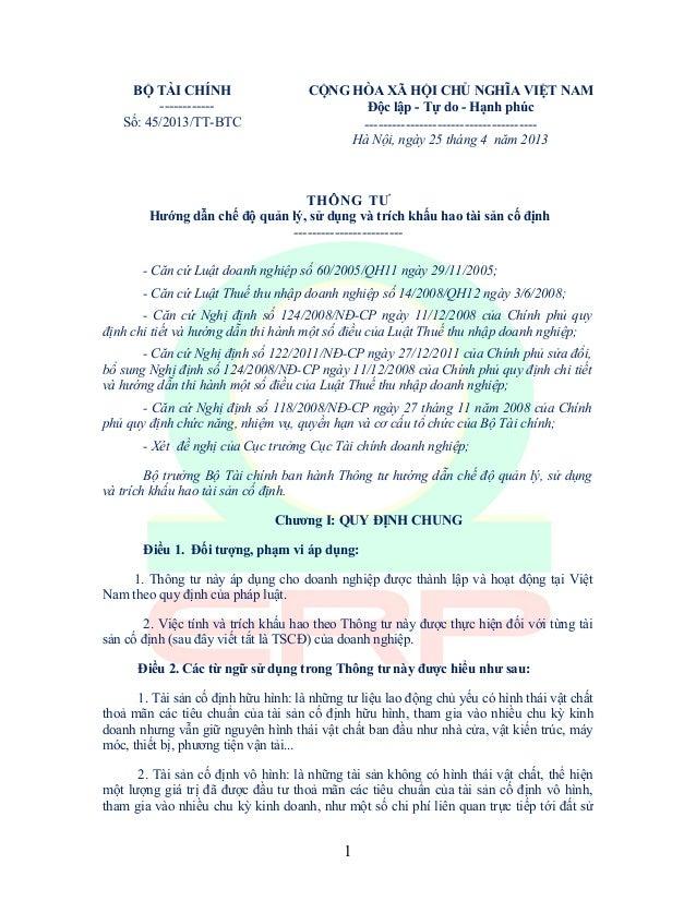 BỘ TÀI CHÍNH------------Số: 45/2013/TT-BTCCỘNG HÒA XÃ HỘI CHỦ NGHĨA VIỆT NAMĐộc lập - Tự do - Hạnh phúc-------------------...