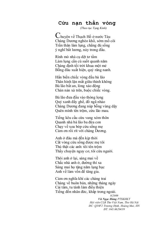 Cứu nạn thần vòng (Theo tục Tạng Kinh)  Chuyện về Thạch Hồ ở nước Tàu  Chàng Dương nghèo khổ, sớm mồ côi Trần thân làm lụn...