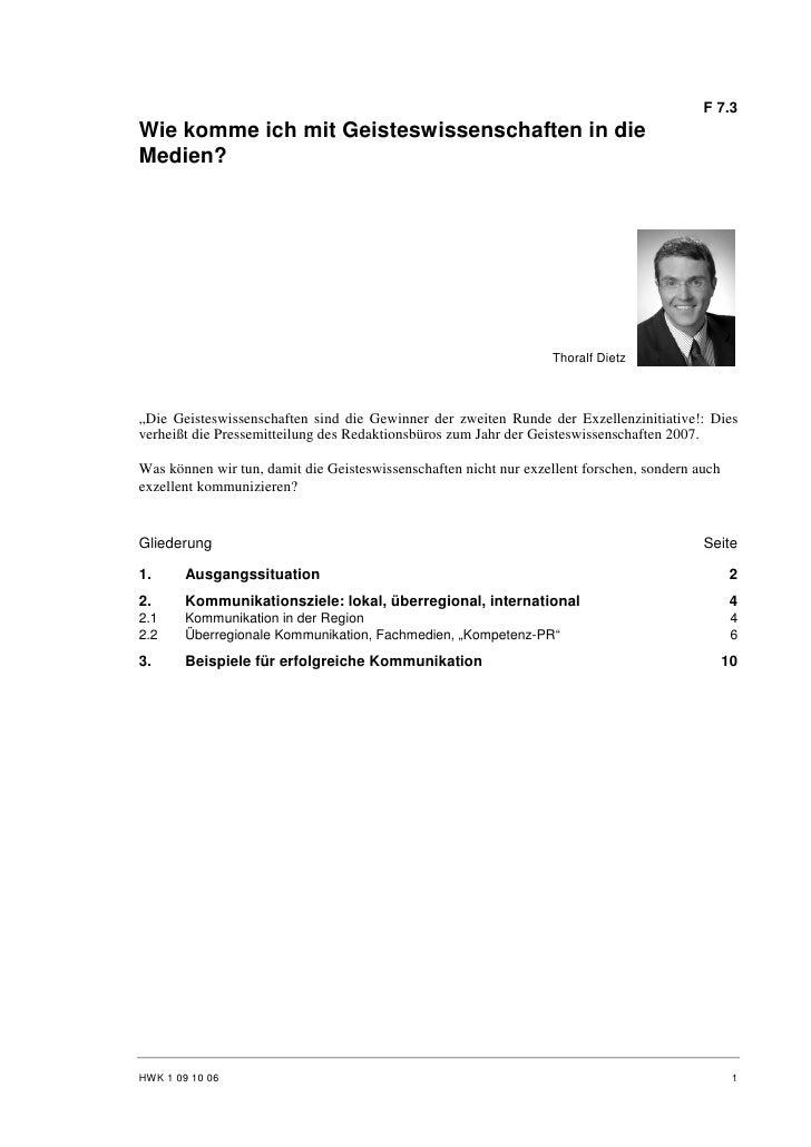Thoralf Dietz: Wie komme ich mit Geisteswissenschaften in die Medien?