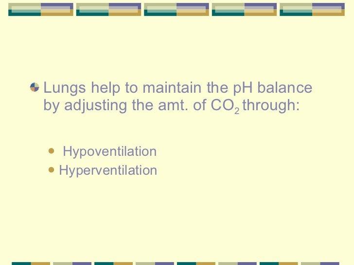 <ul><li>Lungs help to maintain the pH balance by adjusting the amt. of CO 2  through: </li></ul><ul><ul><li>Hypoventilatio...