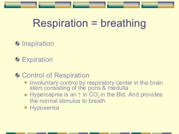 Respiration = breathing <ul><li>Inspiration  </li></ul><ul><li>Expiration  </li></ul><ul><li>Control of Respiration </li><...