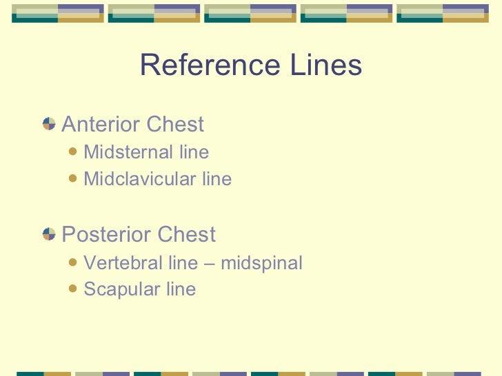 Reference Lines <ul><li>Anterior Chest </li></ul><ul><ul><li>Midsternal line </li></ul></ul><ul><ul><li>Midclavicular line...