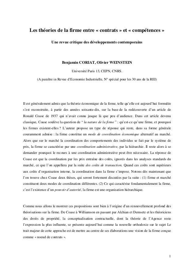 1 Les théories de la firme entre « contrats » et « compétences » Une revue critique des développements contemporains Benja...