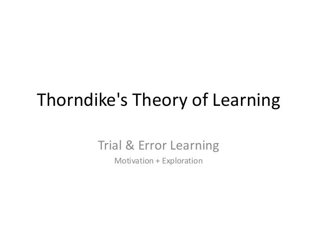 Thorndike's theory of learning SHMN