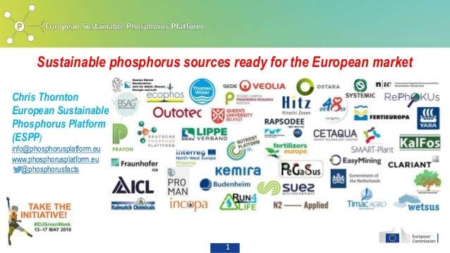 1 Sustainable phosphorus sources ready for the European market Chris Thornton European Sustainable Phosphorus Platform (ES...