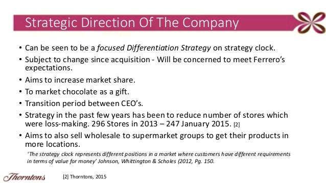 thorntons strategic analysis The paper is helping in understanding the implications of company's pattern of  vertical integration for competitive advantage and strategic.