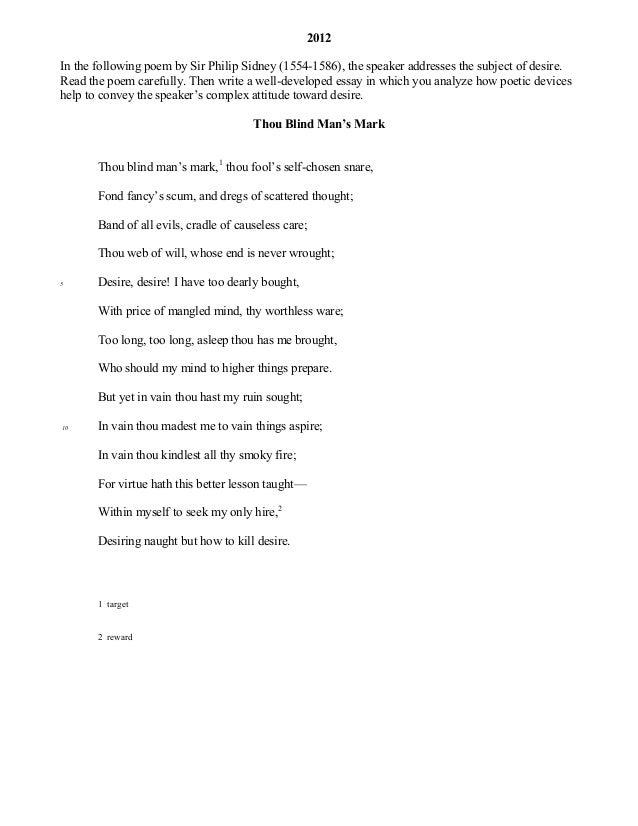 Thou Blind Man's Mark - Poem by Sir Philip Sidney