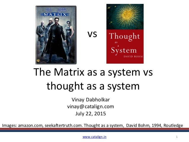 The Matrix as a system vs thought as a system Vinay Dabholkar vinay@catalign.com July 22, 2015 www.catalign.in 1 vs Images...
