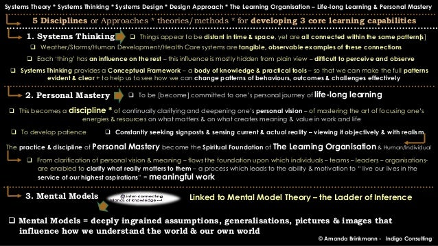 personal mastery of systems thinking Categories of information include (listed in the order of the five disciplines  presented in senge's fifth discipline) 1 systems thinking 2 personal mastery  3.