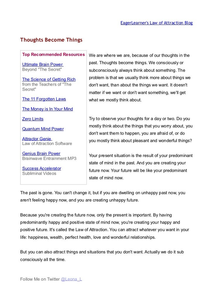 EagerLearners Law of Attraction BlogThoughts Become Things Top Recommended Resources We are where we are, because of our t...