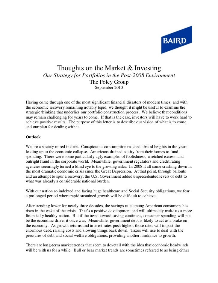 Thoughts on the Market & Investing          Our Strategy for Portfolios in the Post-2008 Environment                      ...