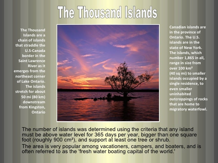 Canadian islands are      The Thousand                                                                 in the province of ...