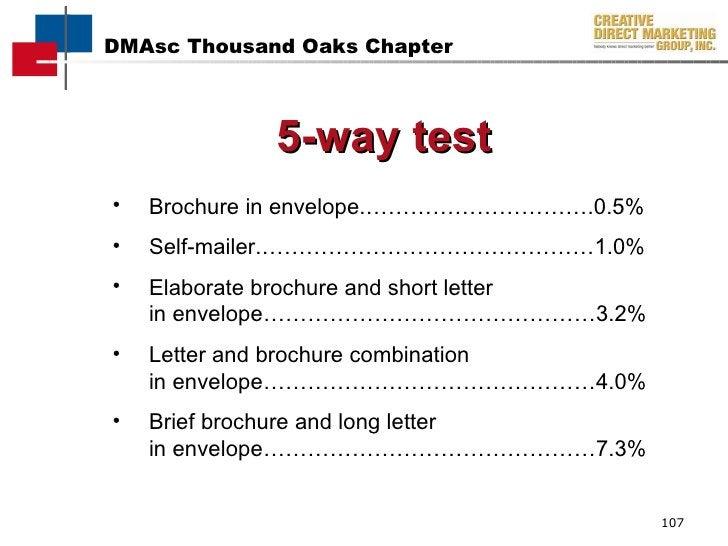 <ul><li>Brochure in envelope.………………………….0.5% </li></ul><ul><li>Self-mailer.………………………………………1.0% </li></ul><ul><li>Elaborate...