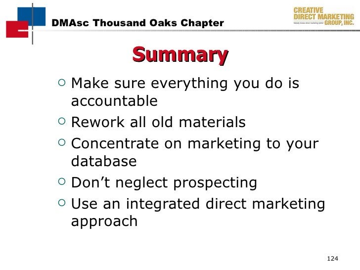 <ul><li>Make sure everything you do is accountable </li></ul><ul><li>Rework all old materials </li></ul><ul><li>Concentrat...