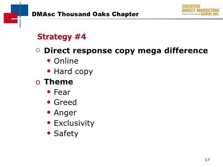 <ul><li>Direct response copy mega difference  </li></ul><ul><ul><li>Online </li></ul></ul><ul><ul><li>Hard copy </li></ul>...