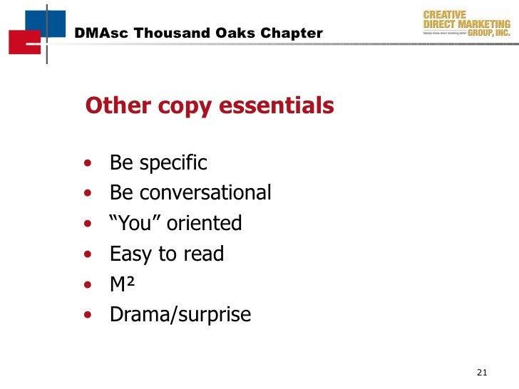 """Other copy essentials <ul><li>Be specific </li></ul><ul><li>Be conversational </li></ul><ul><li>"""" You"""" oriented </li></ul>..."""
