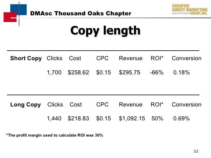 Short Copy   Clicks  Cost    CPC    Revenue   ROI*    Conversion     1,700   $258.62  $0.15   $295.75  -66%   0.18% Long C...