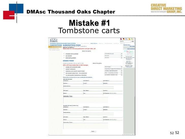 Mistake #1 <ul><li>Tombstone carts </li></ul>