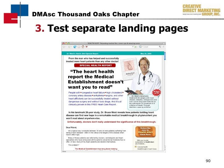 3.  Test separate landing pages